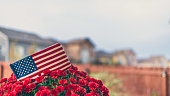 Garden planter with chrysanthemums and US flag for American holidays