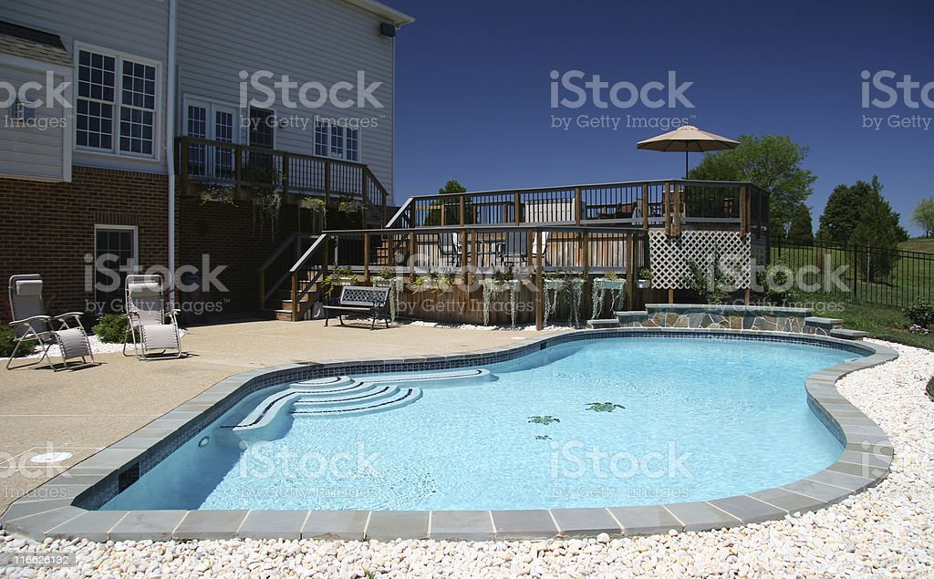 Garden Pool in Suburbs royalty-free stock photo