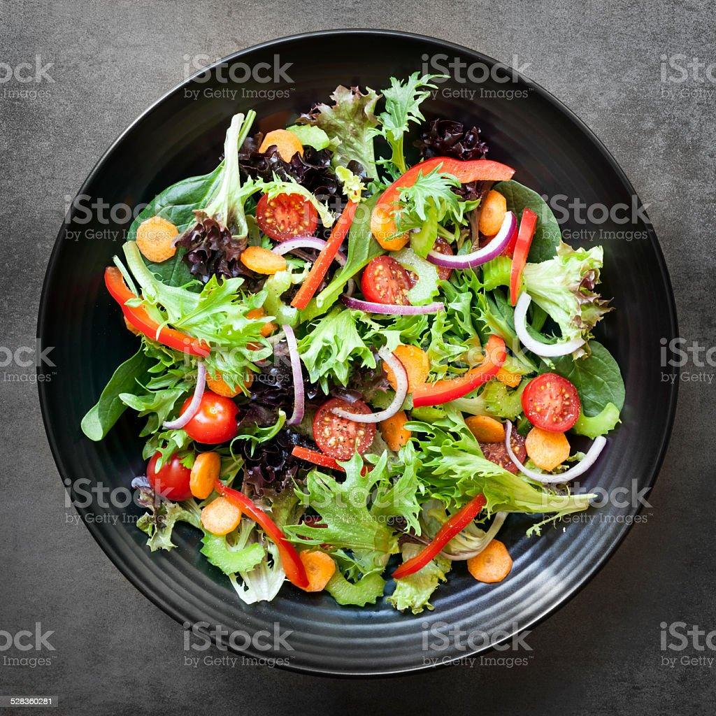 Garden Salad Overhead View stock photo
