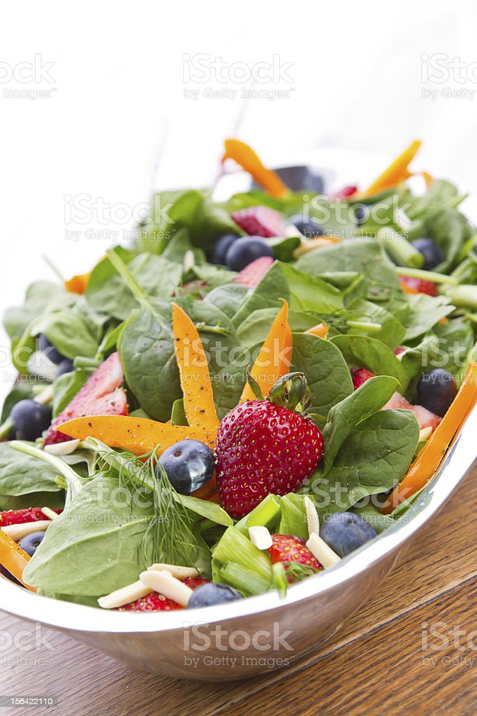 Garden Salad with Strawberries and Blueberries stock photo