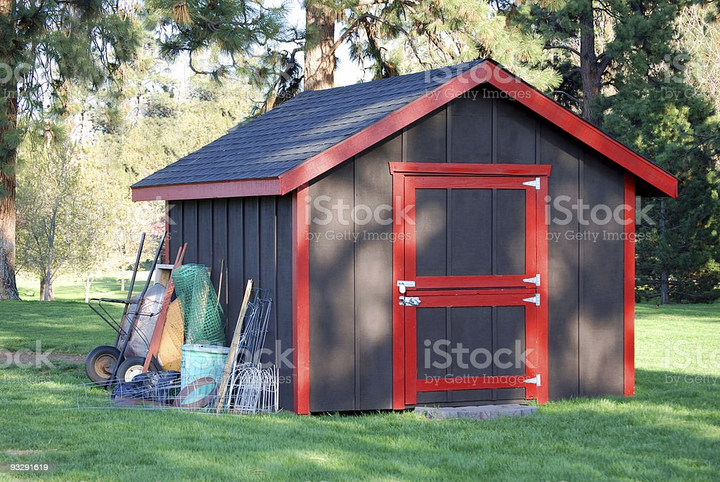 Garden Shed in the Trees stock photo