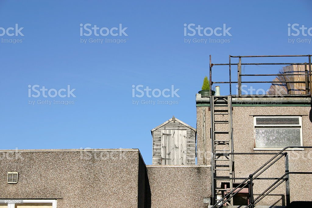 garden shed on a rooftop royalty-free stock photo