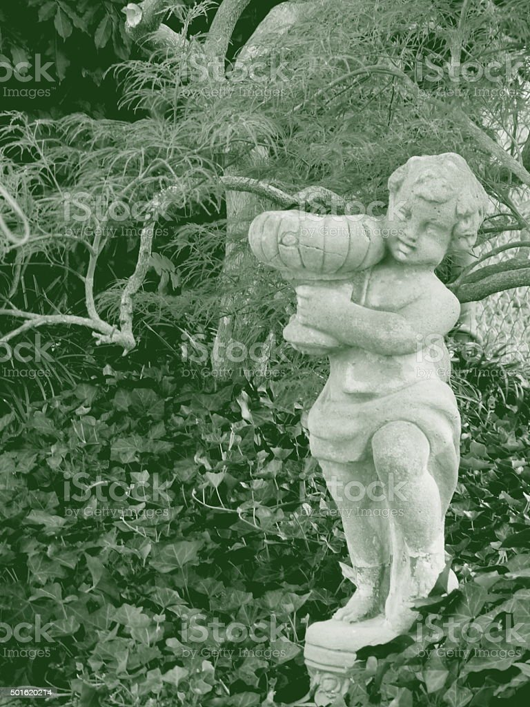 Garden Statue Classical Monochrome Green Toile Ivy Japanese Maple stock photo