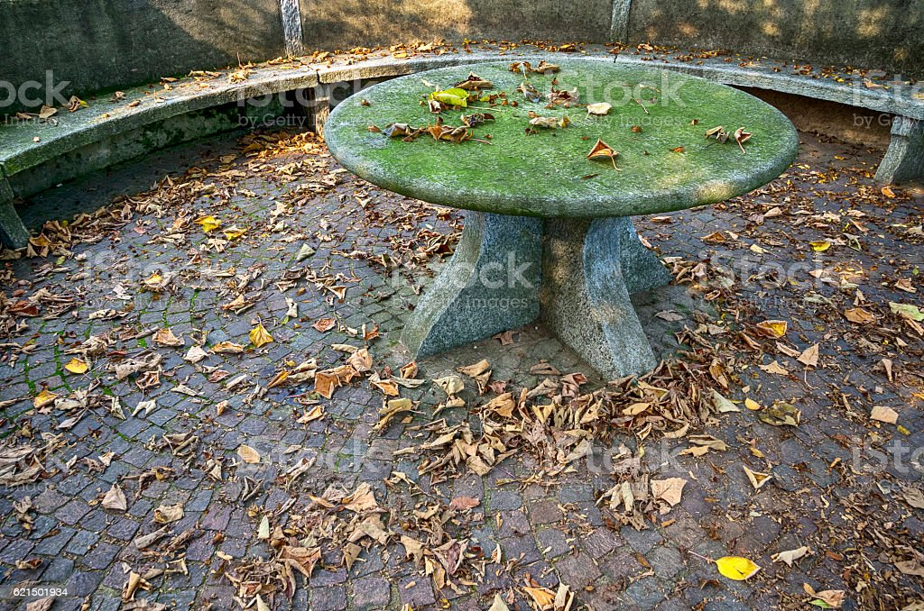 Garden stone table in Autumn royalty-free stock photo