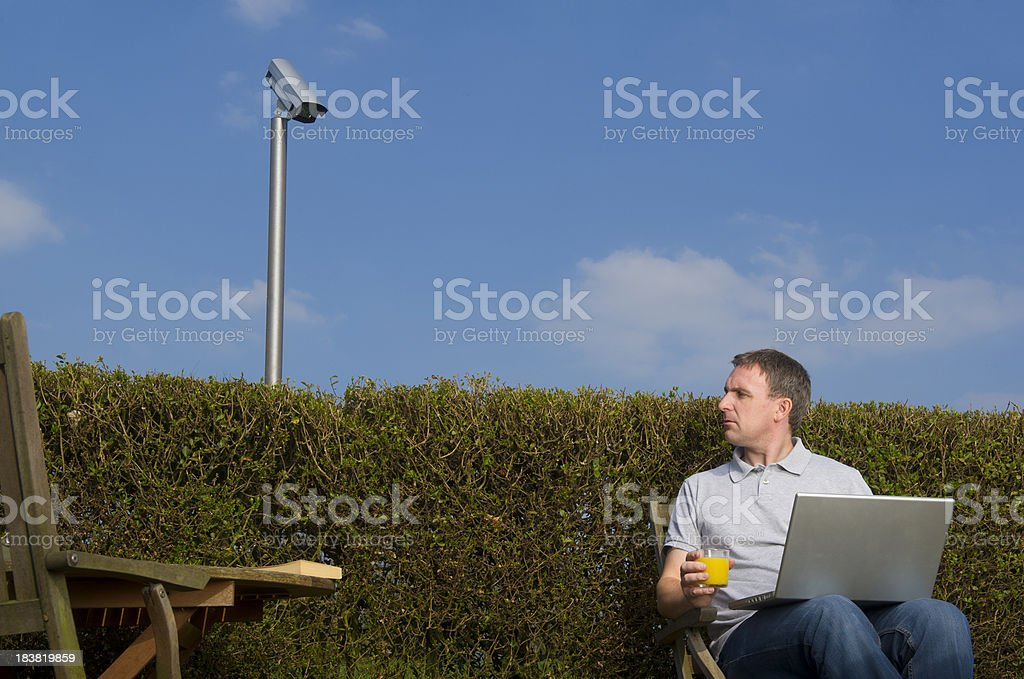 Garden surveillance stock photo