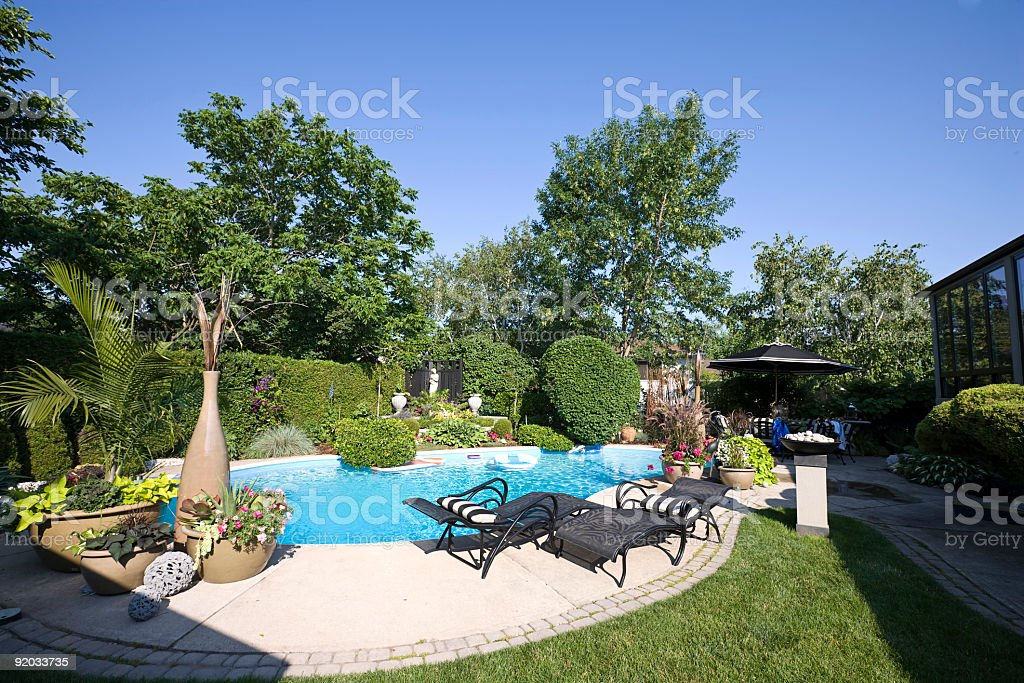 Garden Swimming Pool royalty-free stock photo