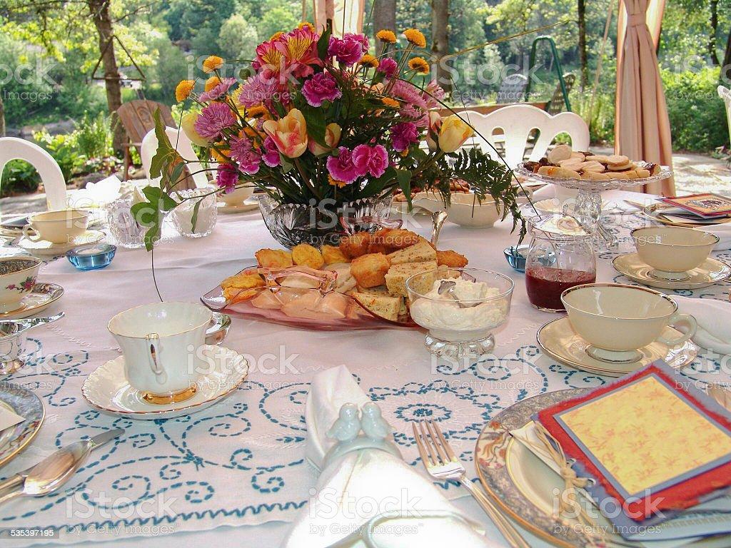 Garden Tea Party Table setting stock photo