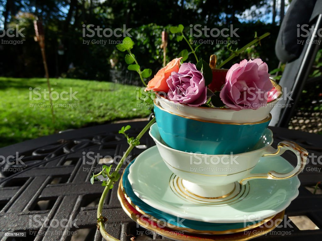 Garden Tea Party with Roses in Vintage Tea Cups stock photo