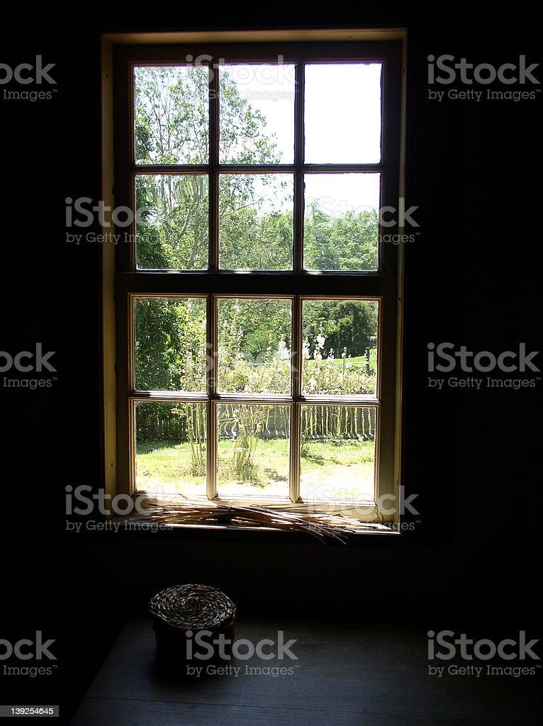 Garden through the window stock photo