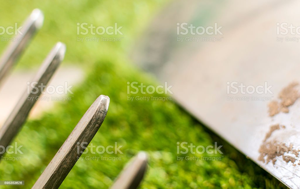 Garden tools - fork detail stock photo