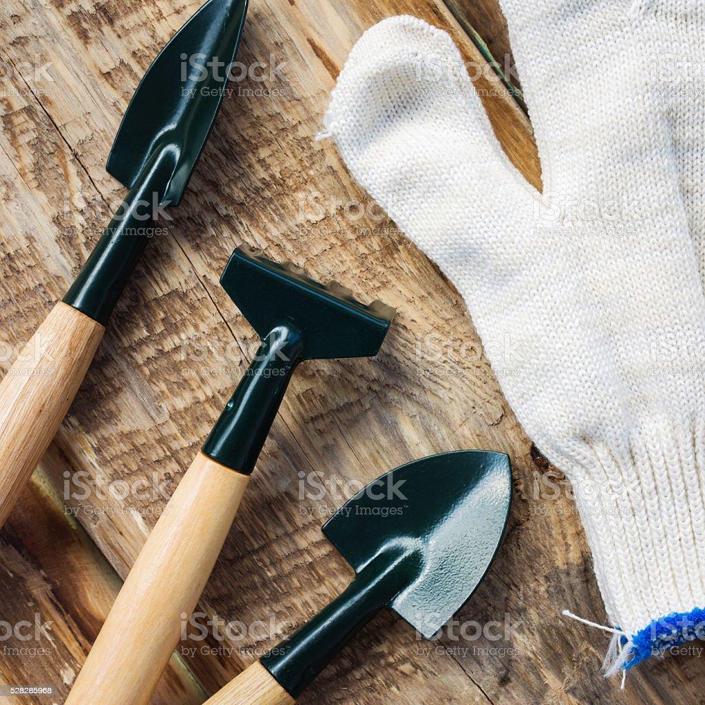 Garden tools - gloves, rakes and blades stock photo