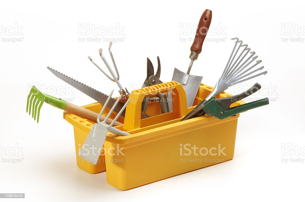 garden tools in toolbox royalty-free stock photo