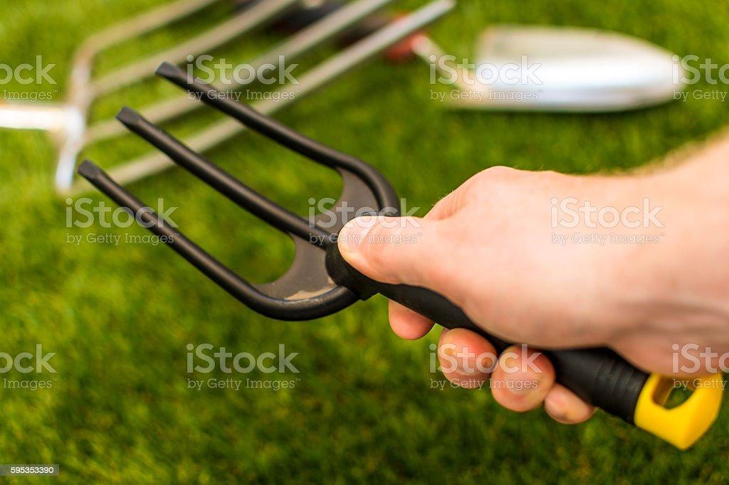 Garden tools - small fork stock photo