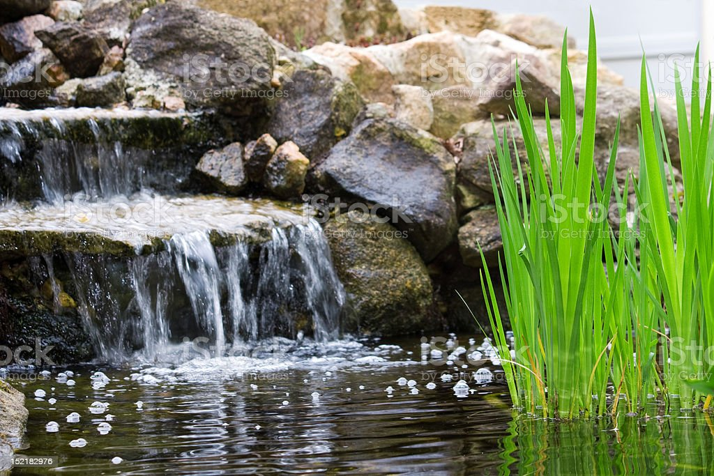Garden waterfall stock photo