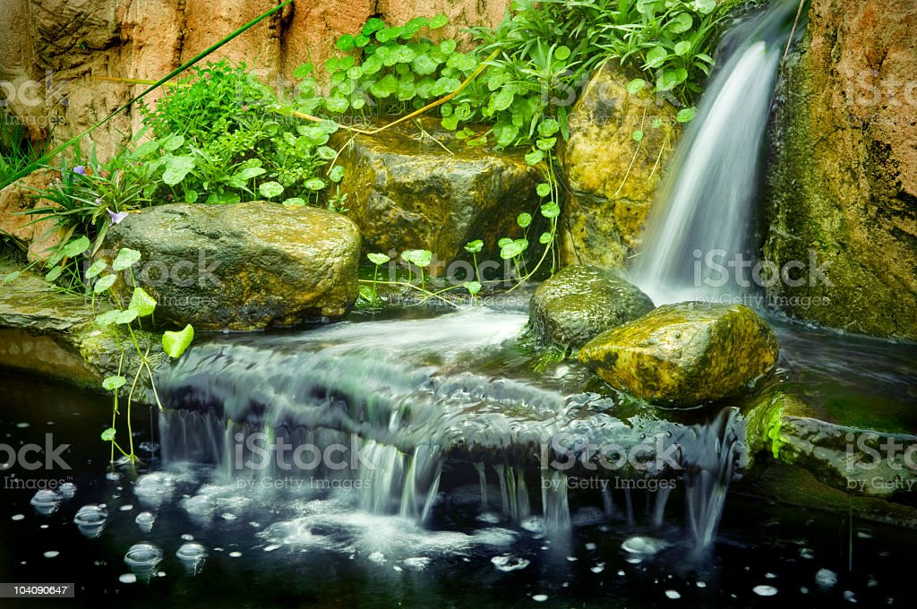 Garden waterfalls stock photo