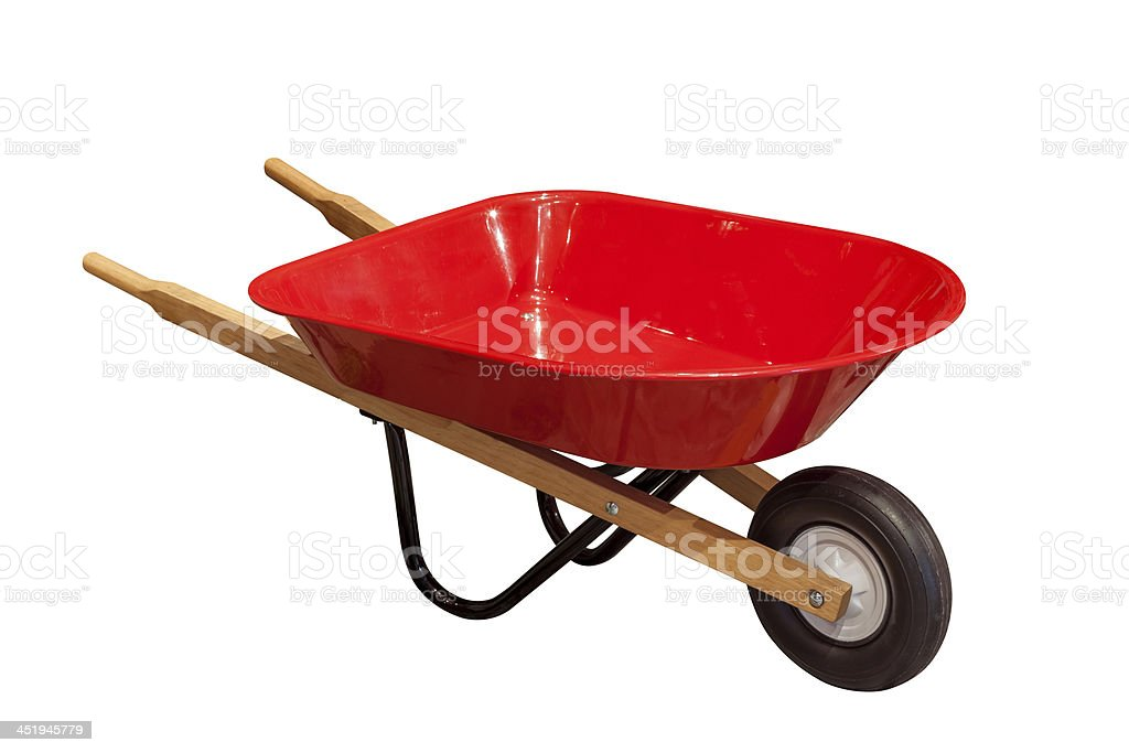 Garden wheelbarrow cart stock photo