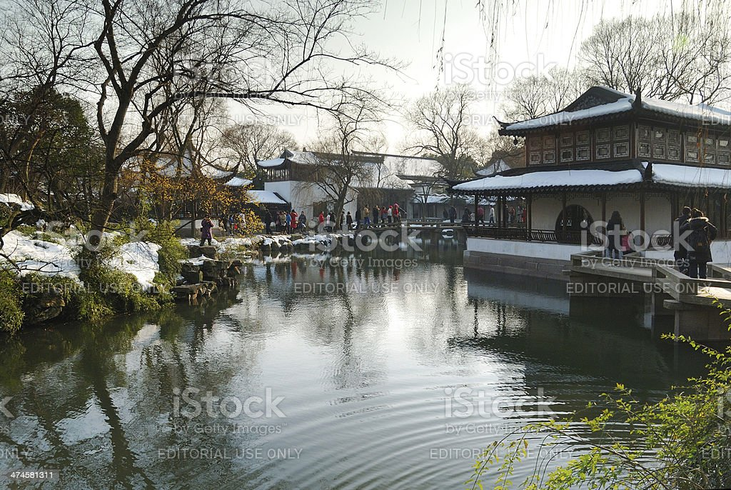 garden with ancient Chinese construction style stock photo