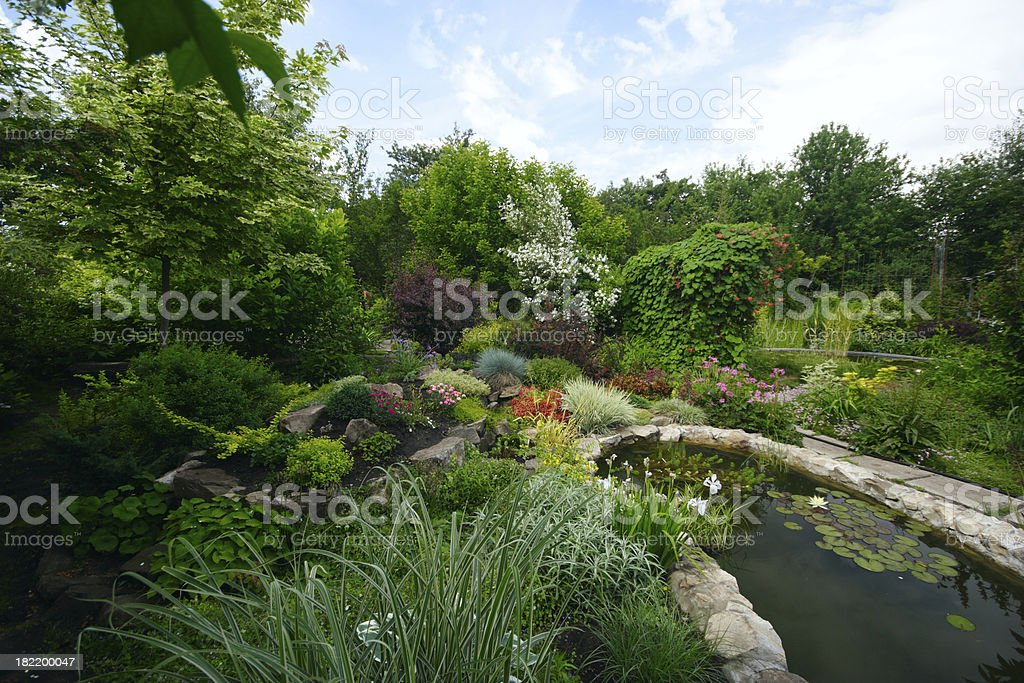 Garden with artificial pond royalty-free stock photo