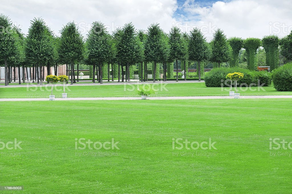 garden with beautiful lawns and avenues royalty-free stock photo