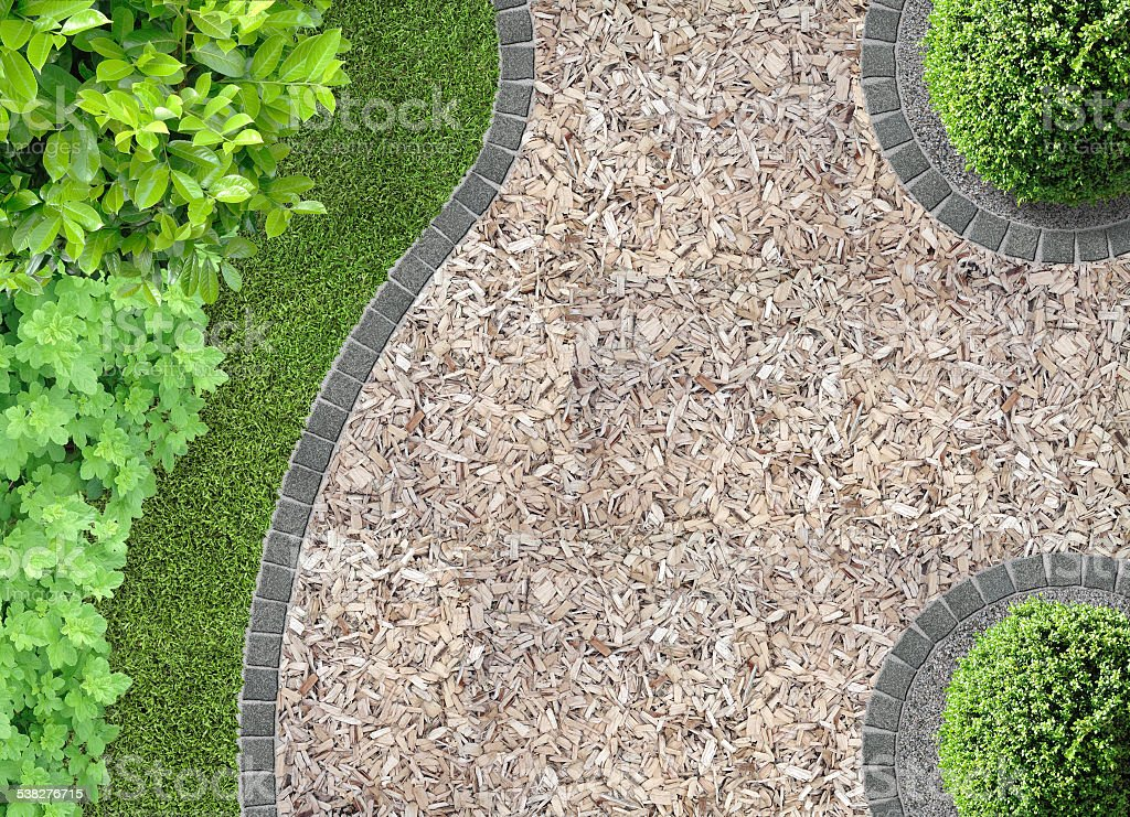 garden with chaff path stock photo