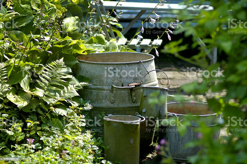 Garden with fern and pewter pots. stock photo