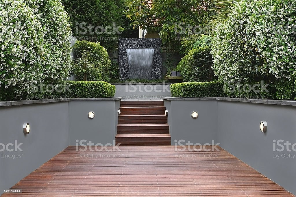 Garden with lights and wooden stairs in Sydney royalty-free stock photo