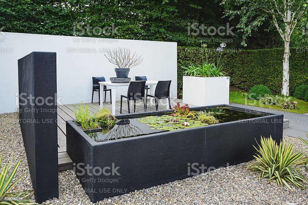 Garden with modern garden furniture and trendy pond. stock photo