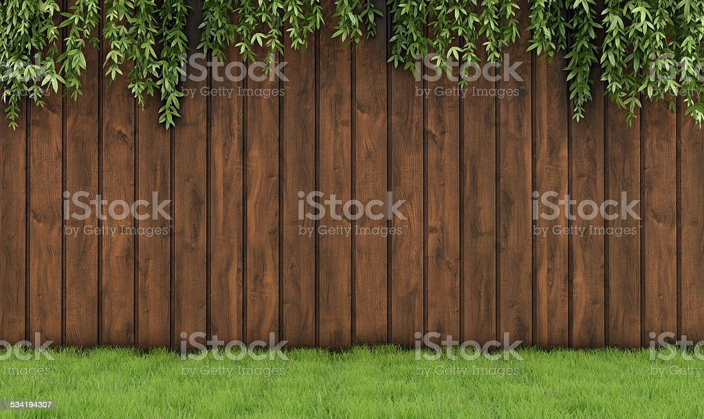 Garden with old wooden fence stock photo