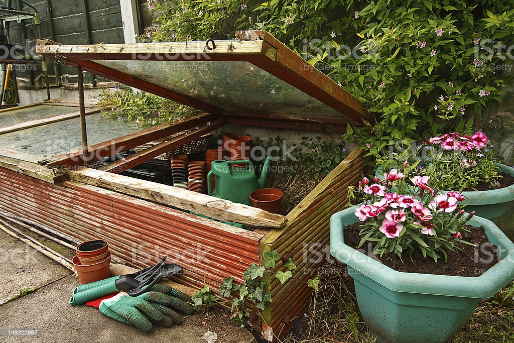 Garden with potted flowers and cold frame stock photo