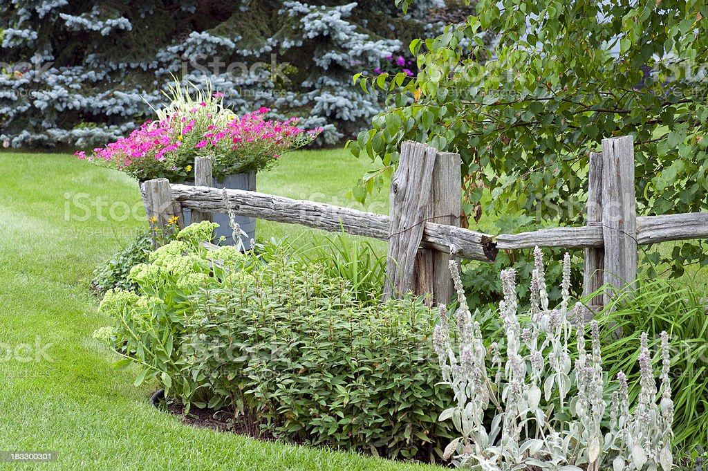 Garden with Rail Fence royalty-free stock photo
