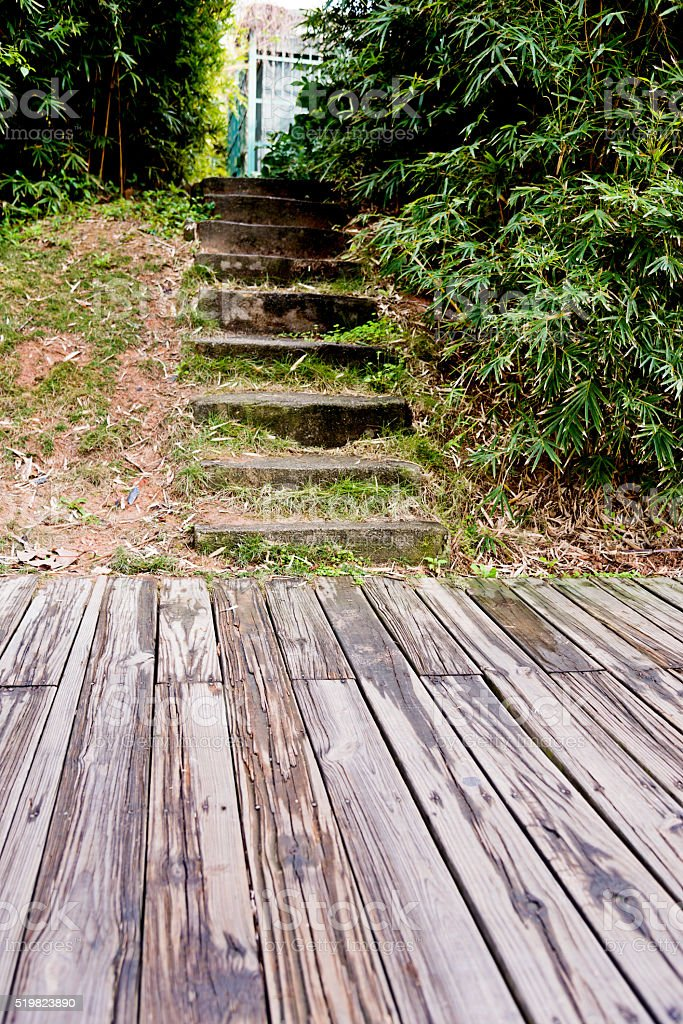 Garden with stairs and wood floor stock photo