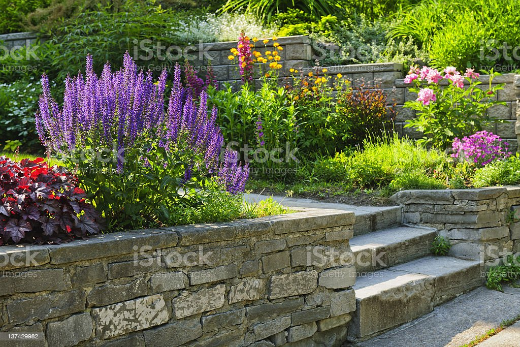 Garden with stone landscaping royalty-free stock photo