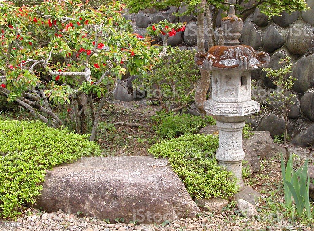 Garden with stone lantern royalty-free stock photo