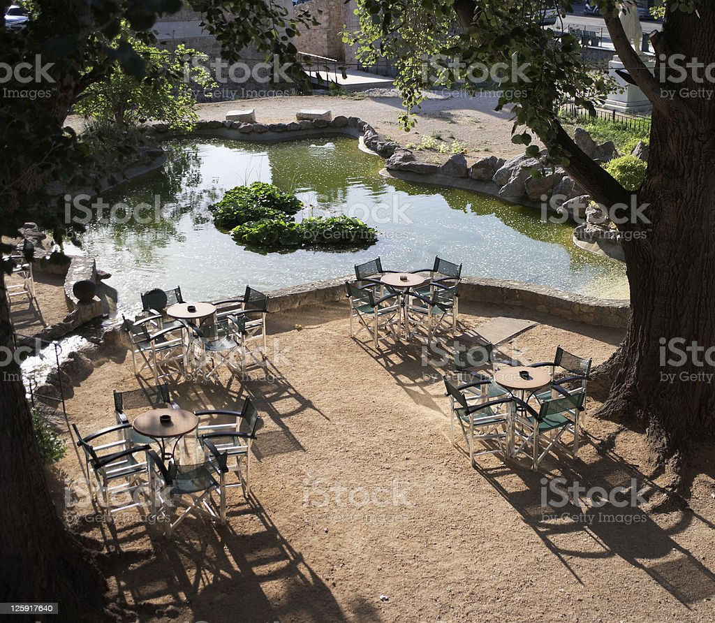 garden with tables royalty-free stock photo