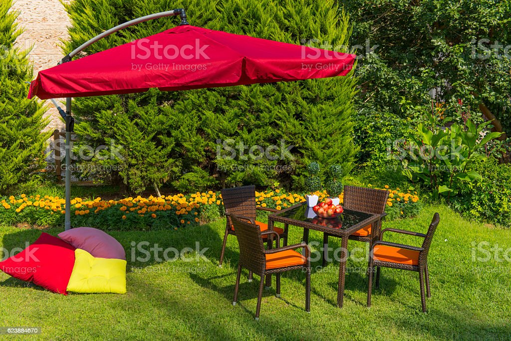 Garden with Wooden Dining Table Set stock photo