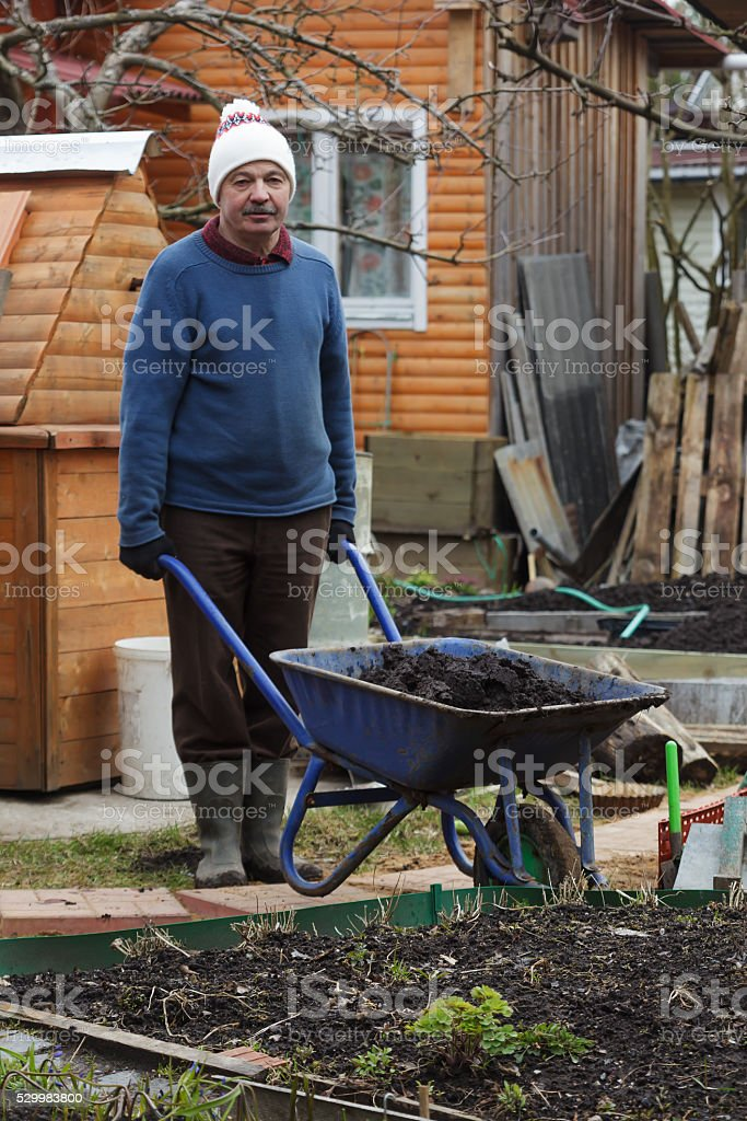 Garden work in the early spring stock photo