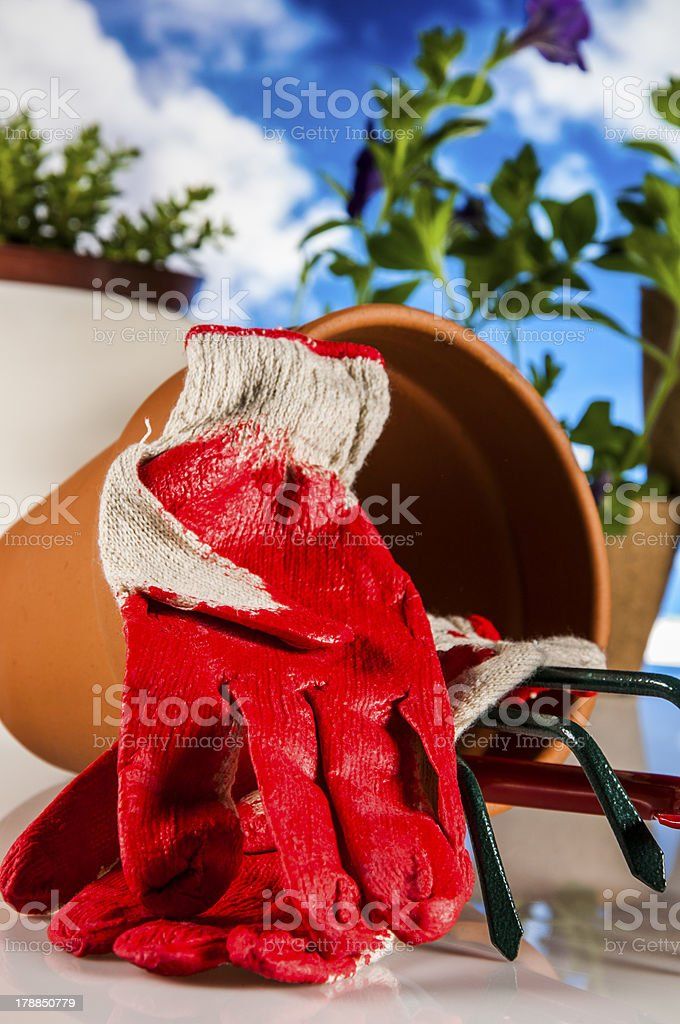 Garden work, rural decorative composition royalty-free stock photo