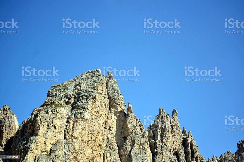 Gardena Pass in the dolomite mountain unesco stock photo