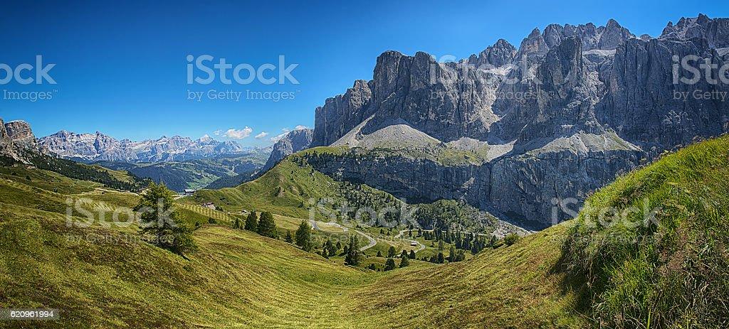Gardena Pass, Landscape stock photo
