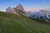 Gardena valley, wonderful Seceda peak the Odle mountain range in
