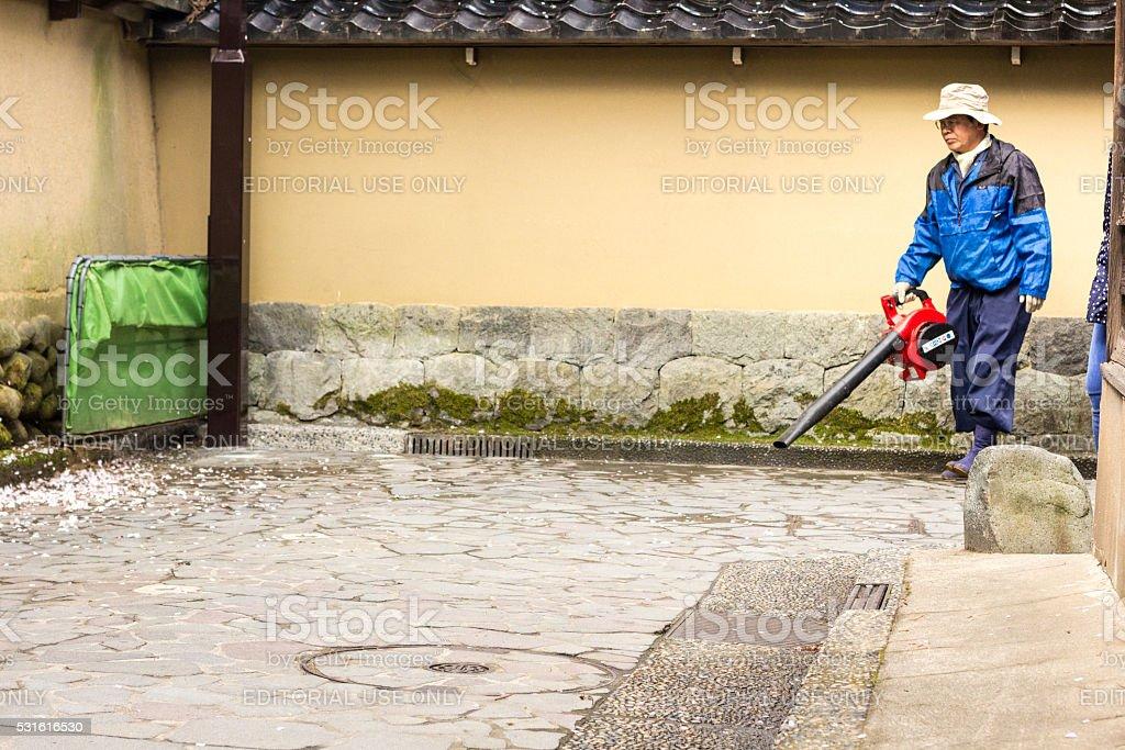 Gardener in Kanazawa, Japan stock photo