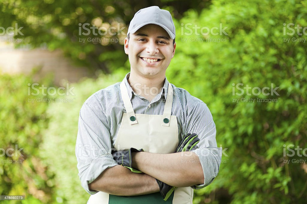 Gardener portrait stock photo