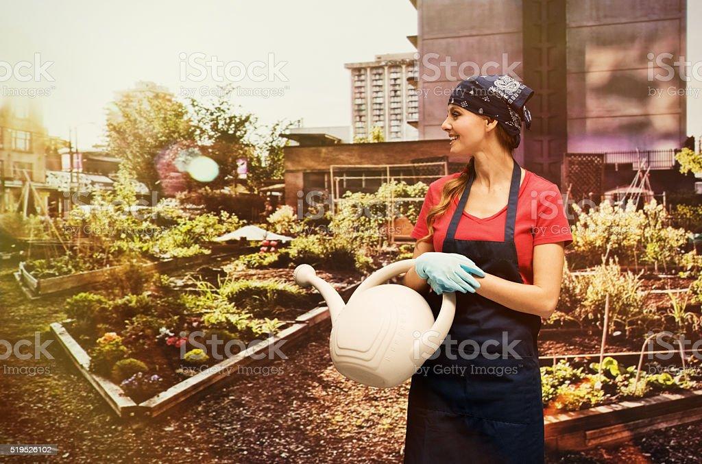 Gardener standing the garden stock photo