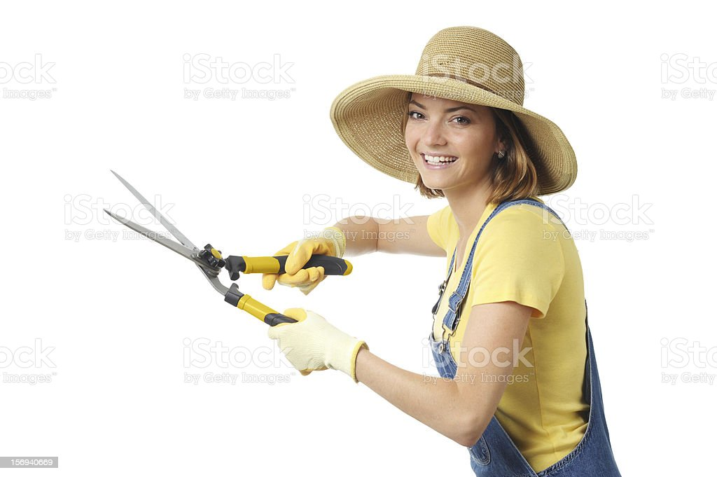 Gardener Woman with Hedge Trimmers Isolated on White Background royalty-free stock photo