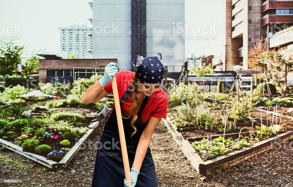 Gardener working in garden stock photo