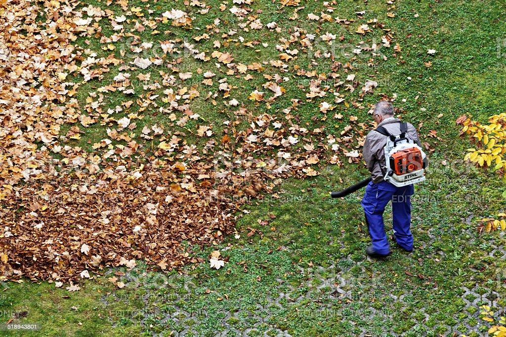 gardener works with leaf blower stock photo