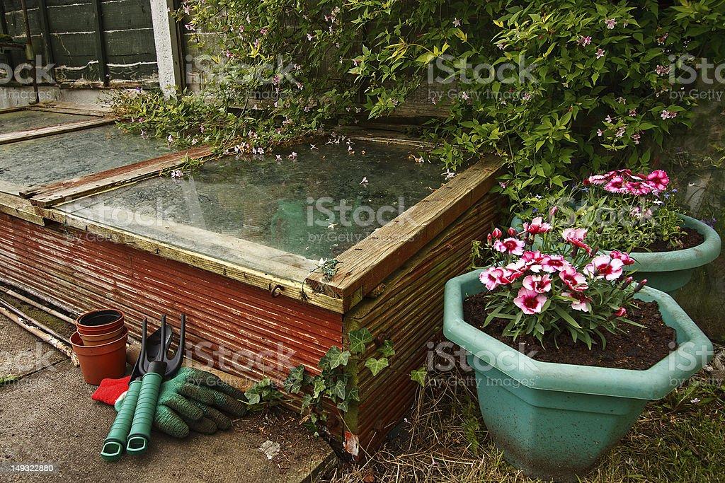 Gardeners cold frame stock photo