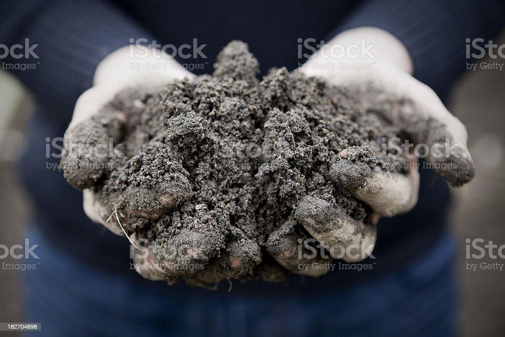 Gardener's Hands Holding Soil royalty-free stock photo