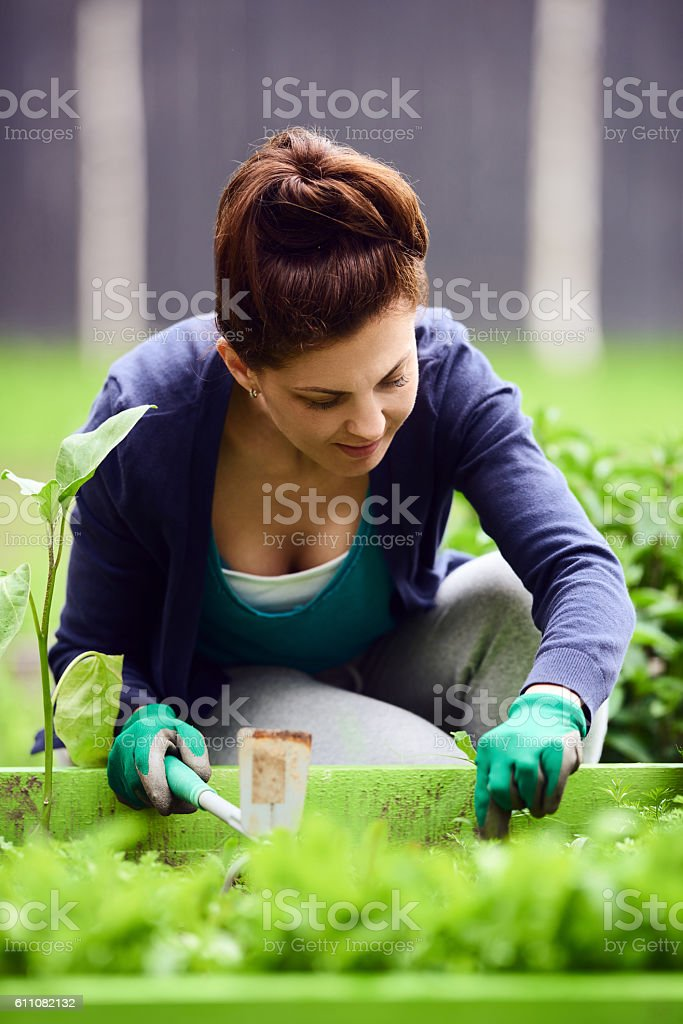 gardening activity relaxes me stock photo