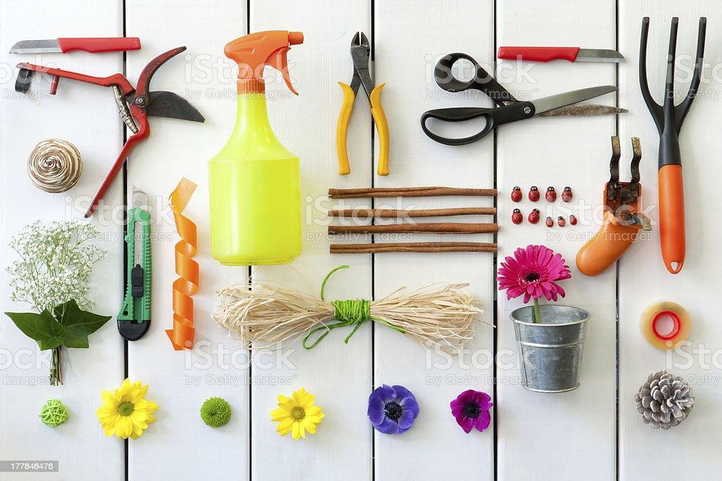 Outils de jardinage et un fleuriste. photo libre de droits